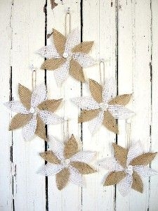 Burlap Poinsettias- Rustic Christmas Decor and Ornament I really like these! Now to get some hands on some oh so sweet burlap Burlap Ornaments, Rustic Christmas Ornaments, Christmas Holidays, Christmas Wreaths, Ornaments Ideas, Christmas Tree, Christmas Projects, Holiday Crafts, Christmas Ideas