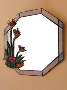 Mirror – Home Decoration Stained Glass Mirror, Mirror Mosaic, Leaded Glass, Mosaic Glass, Glass Mirrors, Mirror Mirror, Glass Painting Designs, Sand Crafts, Window Art