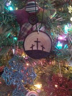 Wood burned Christmas ornament