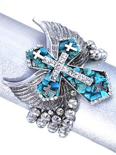 Cross w/Wings Stretch Bracelet - Bracelet Room Trendy Bracelets, Stretch Bracelets, Stretches, Wings, Brooch, Jewelry, Jewlery, Jewerly, Brooches