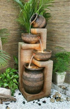 o, I decided to surprise you with yet another super collection of 20 Stunning Garden Water Fountains That Will Blow Your Mind. Here you may find water fountains for everybody's taste. Backyard Patio, Backyard Landscaping, Backyard Ideas, Backyard Waterfalls, Desert Backyard, Landscaping Edging, Backyard Plants, Patio Ideas, Outdoor Ideas