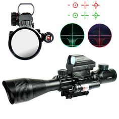 4-12X50EG Hunting Riflescope Tactical Sniper Pistol Optics Scopes Airsoft Air Guns Red Dot Laser Rifle Scopes Holographic Sight