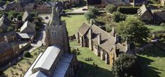 Aerial view of Lyddington Bede House and adjacent church