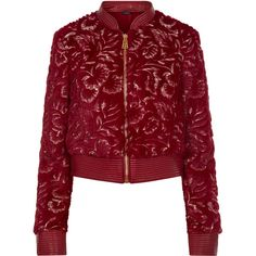 La Perla Daily Looks Burgundy Embroidered Eco Fur and Leather Bomber... ($996) ❤ liked on Polyvore featuring outerwear, jackets, quilted bomber jackets, burgundy bomber jacket, burgundy leather jackets, bomber jacket and embroidered bomber jacket