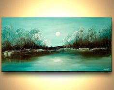 Items similar to Modern Landscape Painting Turquoise Abstract Acrylic Painting Blooming Trees by Osnat - MADE-TO-ORDER - on Etsy Forest Landscape, Landscape Art, Landscape Design, Creative Landscape, Landscape Services, Sunset Landscape, Green Landscape, Landscape Lighting, Painting Art