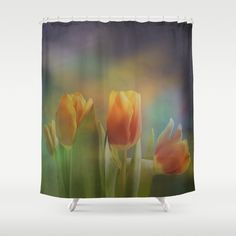 Painterly spring tulips on an abstract background Shower Curtain