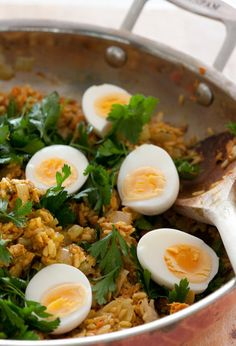 Salmon Kedgeree: There are so many rich flavors (think fish and spices) in a salmon kedgeree recipe that the addition of hard-boiled egg balances it out; its also one of the reasons why the British-Indian breakfast favorite is often considered a comfort food. Source: Flickr user jules:stonesoup