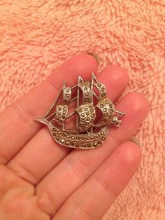 Vintage Sale Ship Old Boat Brooch Marcasite Silver Tone Pin Jewellery Old G Cond