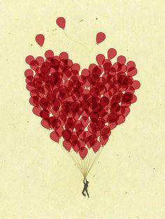 Beautiful sketch full of hearts / Dessin - illustration: coeurs de ballon I Love Heart, Heart Diy, Happy Heart, Heart Balloons, Red Balloon, Balloon Shapes, Balloon Wall, Favim, Grafik Design