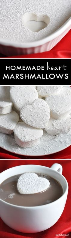 Heart Marshmallows Rich and creamy homemade marshmallows shaped like hearts for Valentine's Day!Rich and creamy homemade marshmallows shaped like hearts for Valentine's Day! Recipes With Marshmallows, Homemade Marshmallows, Homemade Candies, Marshmallow Recipes, Marshmallow Cake, Köstliche Desserts, Delicious Desserts, Dessert Recipes, Desert Recipes