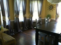 Grey and Yellow Dining room w/ Chevron accents - I did it!