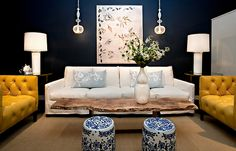 Chic Chinoiserie: love the mix in this living room.