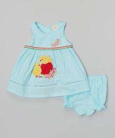 Look what I found on #zulily! Light Blue Chicks A-Line Dress & Diaper Cover - Infant #zulilyfinds