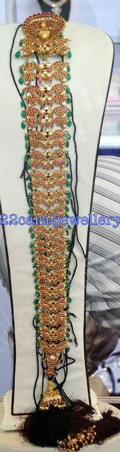 Jewellery Designs: Gold Antique Jada or Choti Studded with Barmuda Ru...
