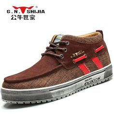 62.98$  Buy now - http://ali1wa.shopchina.info/1/go.php?t=32762945063 - G.N.SHI JIA Classic Retro Men's Snow Boots Brown Suede with Martin Cloth Upper and Rubber Outsole Male King Boots 888112  #shopstyle