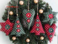 """Купить Набор ёлочных игрушек """"Новогоднее тепло"""" - бордовый, красный, зеленый, рождество, рождественский подарок"""