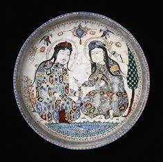 Deux Turcs Seldjoukides représenté sur un plat, de Perse, de la ville de Kashan. 1200