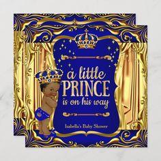 Invitación El muchacho étnico del oro azul de príncipe Baby Baby Shower Balloons, Baby Shower Themes, Baby Boy Shower, Glitter Invitations, Baby Shower Invitations, Royal Blue And Gold, Blue Gold, Gold Blonde, Elegant Baby Shower