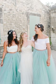 White cropped tops and beautiful blue tulle skirts for the bridesmaids | Nadia Meli