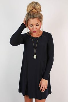 This simple shift dress is so chic! Wear it with a statement necklace or a long necklace, and boots or heels for a variety of outfits that are beautiful and so easy to wear!