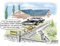 """Cartoonist Sumanta Baruah submitted this entry to The Times of India newspaper contest on the theme of Golmaal (Confusion) India in A Day in the Life of India. The cartoon is called """"The Minister's Rich Dog."""""""
