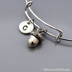Acorn charm bangle, Acorn bracelet, Silver acorn charm, Expandable bangle, Personalized bracelet, Charm bangle, Monogram, Initial bracelet
