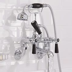 Add traditional style to your bathroom with the Hudson Reed Topaz wall mounted bath shower mixer tap in a chrome and black finish Bath Shower Mixer Taps, Bath Taps, Bathroom Taps, Big Bathrooms, Bathroom Inspo, Traditional Bathroom, Traditional Design, Commercial Plumbing, Hudson Reed