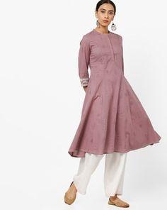 Check out Printed A-line Kurta with Mandarin Collar on AJIO! A Line Kurta, Mandarin Collar, High Neck Dress, India, Printed, Pink, Check, Shopping, Dresses
