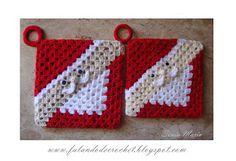 Crocheted Santa pot holder by Sonia Maria on Falando de Crochet Crochet Kitchen, Crochet Home, Crochet Crafts, Crochet Baby, Crochet Projects, Free Crochet, Knit Crochet, Crochet Christmas Ornaments, Christmas Crochet Patterns