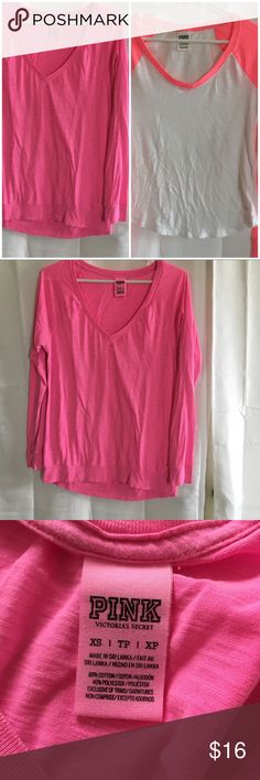 Victoria's Secret PINK Tees Preowned-Victoria's Secret PINK long sleeve V neck tees size XS. A pink one and a white neon pink.  The pink one is loose fit and the white one is fitted, in very good used condition.  You get both for one price.  D1 PINK Victoria's Secret Tops Tees - Long Sleeve