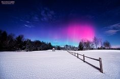 """Moonlight Aurora - One frame from a short time lapse I shot during the quick aurora display this morning in central Maine. The Moon was very bright and washed out a lot of the sky and the aurora but made for some nice foreground lighting. I had to scramble for a decent foreground and I liked the leading lines of this fence.  Metallic prints:  <a href=""""http://miketaylorphoto.smugmug.com/"""">Taylor Photography Portfolio</a>"""