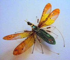 Miniature Winged Insects Made from Discarded Computer Circuit Boards