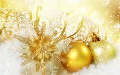 Download wallpapers New Year, golden snowflake, Christmas, decoration, Christmas balls