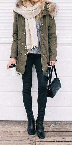 Army Jacket // Cream Scarf // Grey Top // Black Skinny Jeans .. Leather Booties                                                                             Source