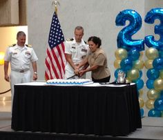 Official cutting of the Navy birthday cake.