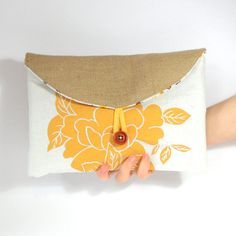 SALE Hand Screen Printed Mustard Yellow Floral by createdbyhannah, £10.00