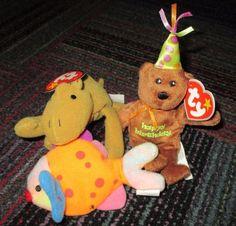 LOT OF 3 MCDONALD'S TY BEANIE BABIES MINI PLUSH, CAMEL, BIRTHDAY BEAR & FISH,EUC #TY