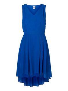 HIGH-LOW SHORT DRESS, Shiny Cobolt, main