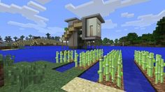 Modern House Designs for Minecraft: A House on Stilts Keepeth the Monsters at a Comfortable Shooting Distance Modern Minecraft Houses, Minecraft House Designs, Minecraft Creations, Minecraft Ideas, House On Stilts, Modern House Design, More Photos, Legos, My Images