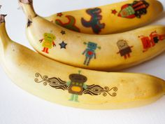 Pink Stripey Socks- temporary tattoos on bananas