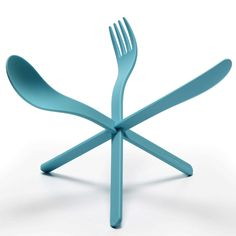 This plastic cutlery that clips together to form little sculptures at the dinner table is by German design studio ding3000.