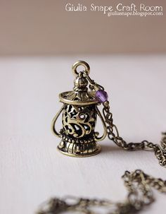 Lantern pendant -  lovely necklace with violet bead