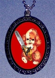 Chainsaw Puppy Dog Murderous Psychobilly Pendant necklace Kawaii
