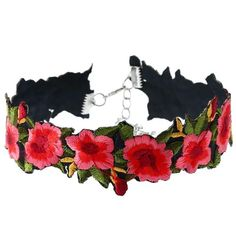 Add a splash of floral to a fierce statement in this choker. With embroidered flower details and a silver clasp to the back, this sweet piece will be the perfec