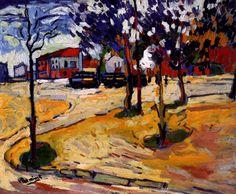 MAURICE DE VLAMINCK - Les arbres sur la place (1906)  Huile sur toile (60 x 73)