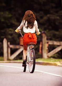 biking in an adorable outfit