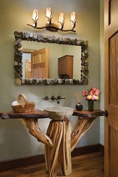 Stone mirror and sink, natural wood vanity design ideas decorating before and after interior room design design Eclectic Bathroom, Rustic Bathrooms, Wood Bathroom, Natural Bathroom, Bathroom Ideas, Bathroom Furniture, Bathroom Renovations, Bathroom Interior, Log Home Bathrooms