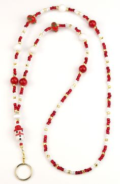 The most recent addition to our Snowman family: the Snow Kid! Bright red and happy - this is our most colorful Snowman yet! Accented in bright red beads and white Dolomite Marble, this is one bright l Beaded Rings, Beaded Jewelry, Beaded Bracelets, Lanyard Necklace, Diy Necklace, Cheap Jewelry, Jewelry Crafts, Lanyard Crafts, Beaded Lanyards