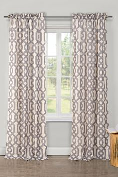 Ashmont Printed Textured Grommet Panel Curtains - Set of 2 - Grey on @HauteLook