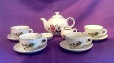 Vintage ceramic child's tea set 12 pieces made German Dem Republic W Box